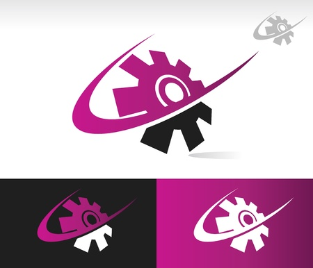 Gear icon with swoosh graphic element