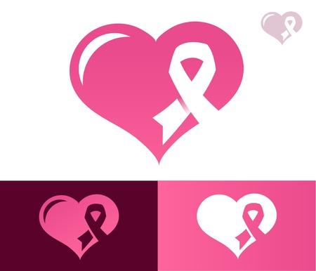 pechos: Coraz�n con la cinta rosada icono de la conciencia del c�ncer de mama Vectores