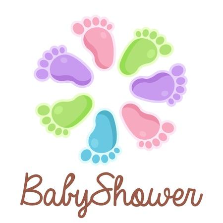 pie bebe: Bebé emblema ducha con iconos pies Vectores