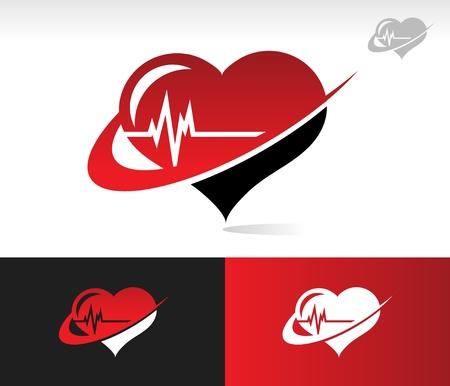 oscilloscope: Heartbeat icon with swoosh graphic element  Illustration