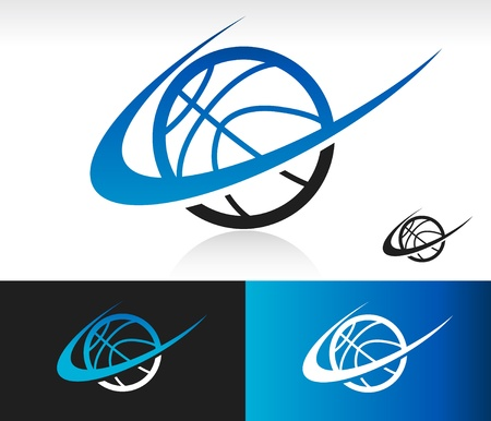 Swoosh basketball icon with swoosh graphic element