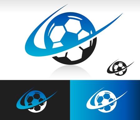 Bal van het voetbal pictogram met swoosh grafisch element Stockfoto - 18733252