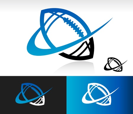 Swoosh football icon with swoosh graphic element