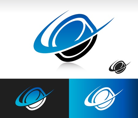 Hockey puck icon with swoosh graphic element