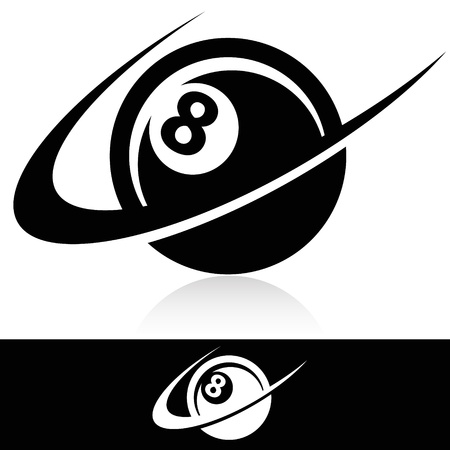 Eight ball icon with swoosh graphic element  Vector