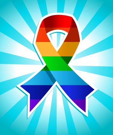 bursting: Colorful rainbow ribbon for pride awarness  Illustration