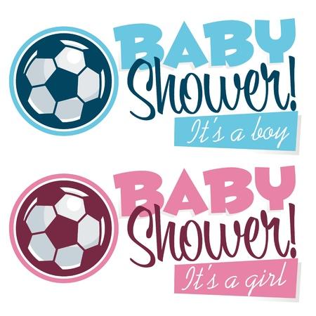 Voetbal Baby Shower Banners Stock Illustratie
