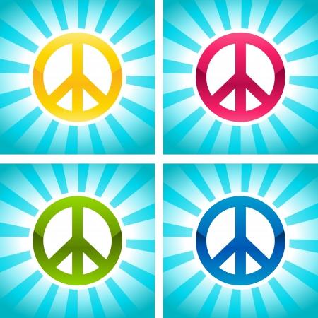 Set Of Colorful Peace Symbols On Blue Bursting Backgrounds Royalty