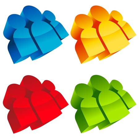 Set of colorful 3D group icons