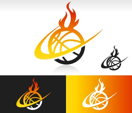 basketball ball on fire: Basketball icon with fire and swoosh graphic element