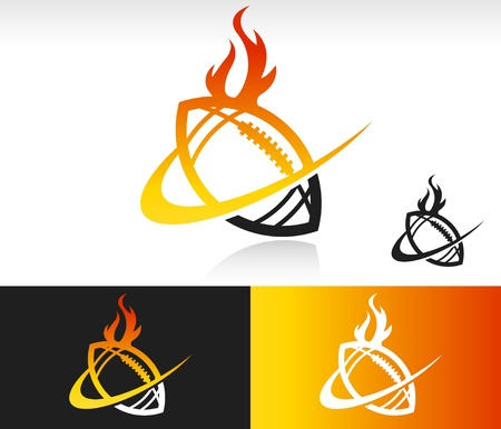 Football icon with fire and swoosh graphic element  Vector