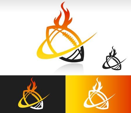 Voetbal pictogram met vuur en swoosh grafisch element Stock Illustratie