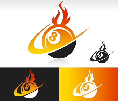 Eight ball icon with fire and swoosh graphic element  Illustration