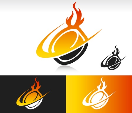 Hockey puck icon with fire and swoosh graphic element