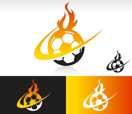 Soccer ball icon with fire and swoosh graphic element
