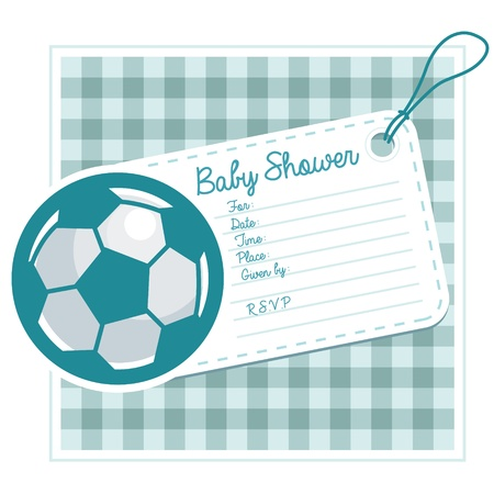 Baby shower invitation card with soccer ball  Ilustracja