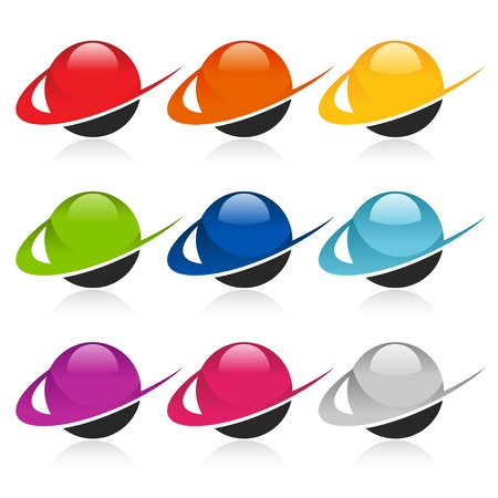 sphere: Swoosh Colorful Sphere Icons