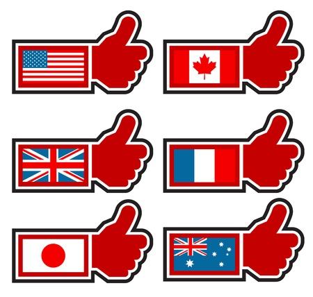 Duimen omhoog Pictogrammen Vertegenwoordigen World Flags Stock Illustratie