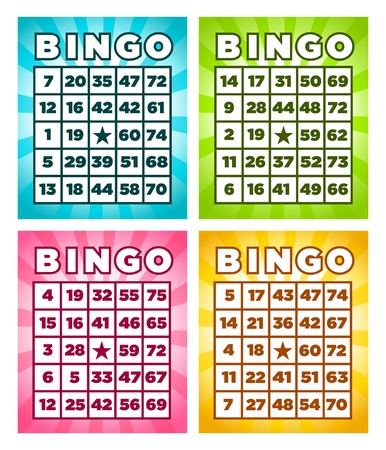 board: Colorful set of bingo cards