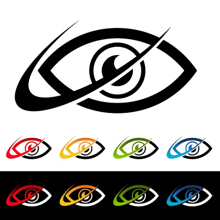 Eye icons with swoosh graphic elements