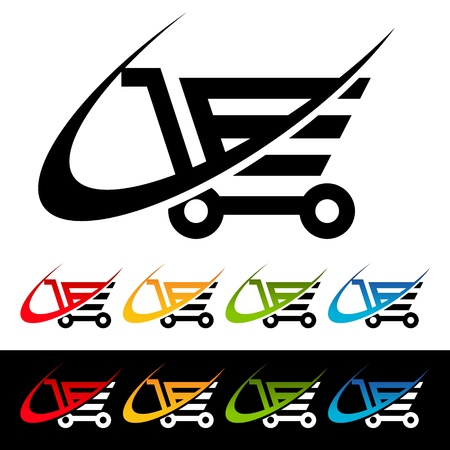 Shopping Cart icons with swoosh graphic elements  Illustration