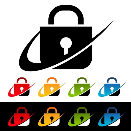 Lock icons with swoosh graphic elements  Stock Vector - 19017071