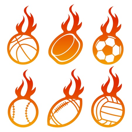 Fire Sport Balls Stock Vector - 19057481