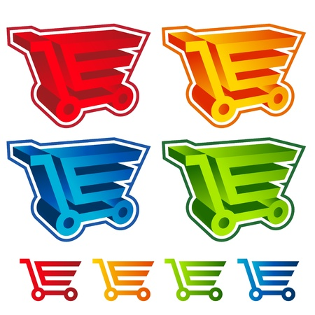 3D Shopping Cart Icons Stock Vector - 19057482