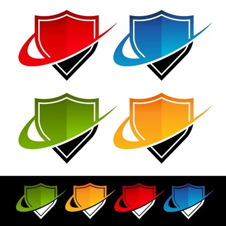 Swoosh Shield Icons Иллюстрация