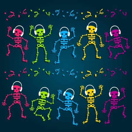 Colorful dancing skeletons listening to music