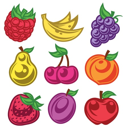 Kleurrijke set van gestileerde fruitpictogrammen Stock Illustratie