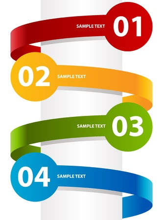 curving: Colorful illustration with curving paper labels   Illustration