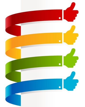 approvals: Colorful set of thumbs up paper banners  Illustration