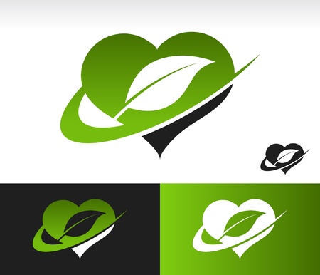 Green heart symbol with leaf and swoosh graphic element