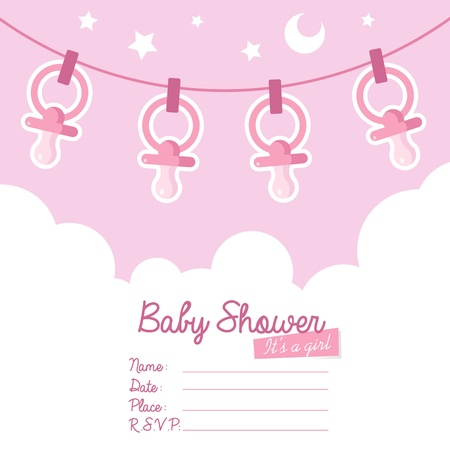 Cute pink baby shower invitation card for girls with pacifiers   Vectores
