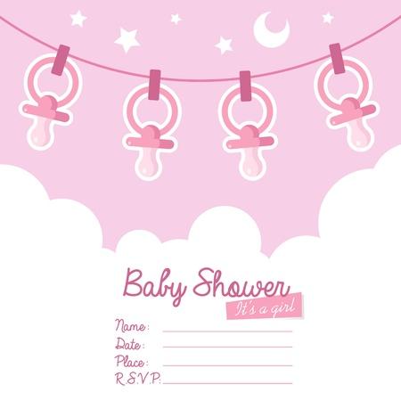 Schattige roze baby shower uitnodiging kaart voor meisjes met fopspenen Stockfoto - 19498850