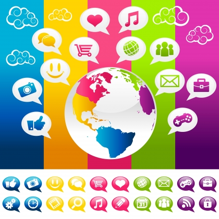 Colorful planet earth with social media icons and speech bubbles  Vector