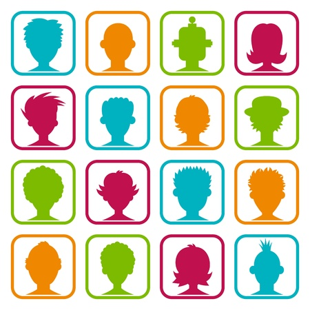 Colorful set of icons with man and woman avatars  Vector