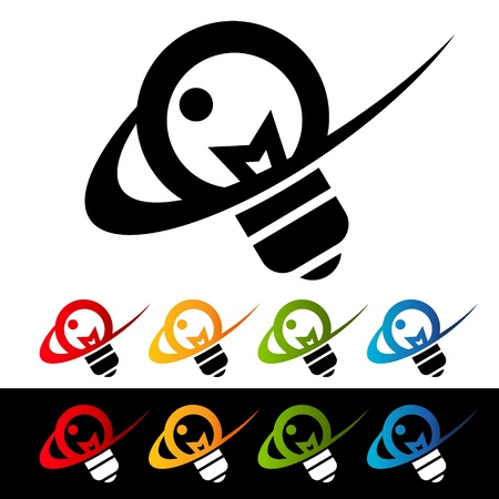 Light bulb icons with swoosh graphic elements