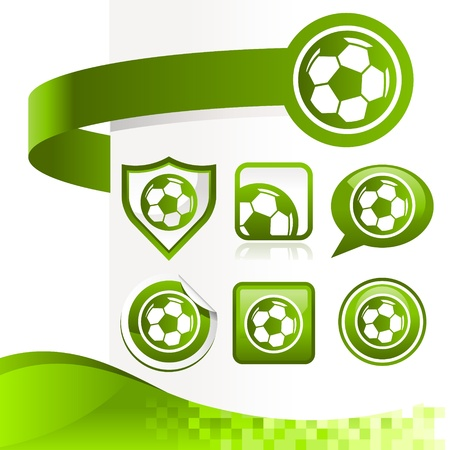Design kit of soccer ball icons with banners  Vector