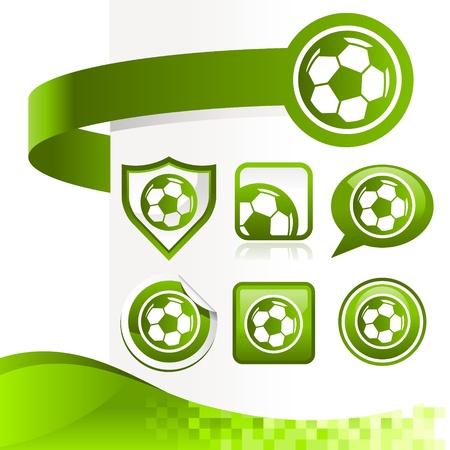 bannière football: kit de conception des icônes de ballon de football avec des bannières Illustration