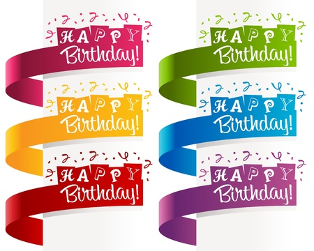 Set of birthday banners with confetti  Illustration