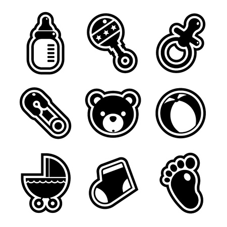 Set of black and white baby shower icons  Ilustração