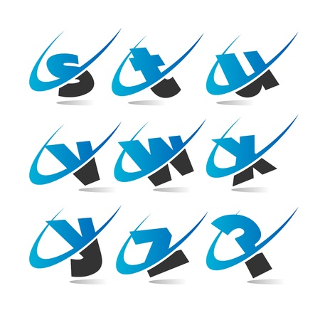 Swoosh Small Letters Icons Set 3 Vector