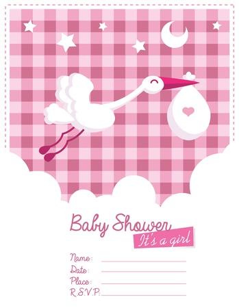 コウノトリと赤ちゃん女の子の招待状カード  イラスト・ベクター素材