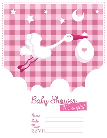 Baby girl invitation card with stork Vectores