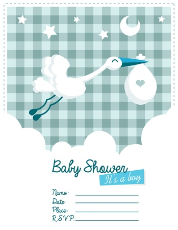 Baby boy invitation card with stork Vector