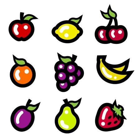 slot: Set of colorful fruit icons  Illustration