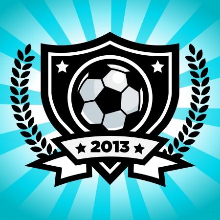 Soccer emblem on blue bursting background 일러스트