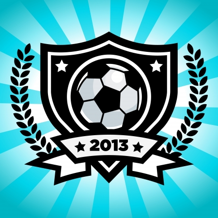 Soccer emblem on blue bursting background Vector